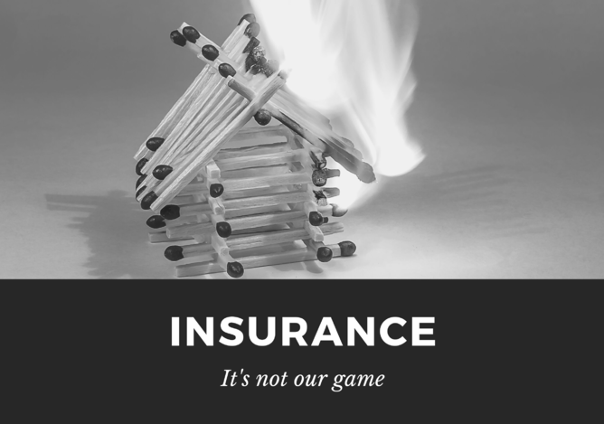 Insurance not our game match stick house burning